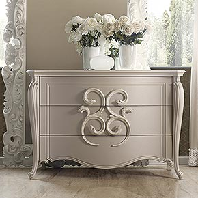 _Pigalle wooden chest of drawers in cameo finish cat. B with Hera andles in bianco ceramizzato cat. B