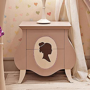 GLAMOUR L.68 H.64 P.38 cm</br>  _Glamour nightstand in wood, mousse cake finish, cat. B, with warm ivory feet, cat. A, and Silhouette decoration