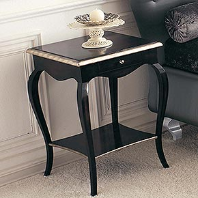 MORGAN L.50 H.72 P.50 cm</br>  _Morgan wooden night table with Bijou metal handles, antique black finish with rosy silver oxide leaf details, cat. B