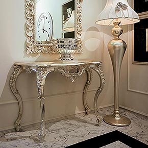 _Devoré wooden console table, in champagne silver leaf finish, cat. C