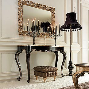 _Lester wooden console table, antique black finish with rosy silver oxide leaf top and details, cat. B