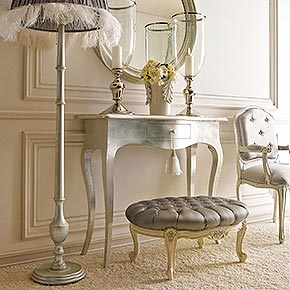 _Slim wooden console table with Bijou metal handles, wax silver leaf finish, cat. C, with tassels art. 30355/01