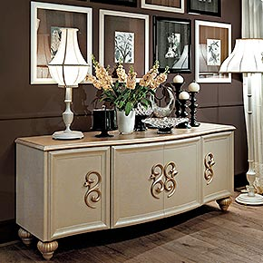 _Medea sideboard with frame in golden light-brown, cat. B, with feet, handles and top in dove grey gold leaf finish, cat. C