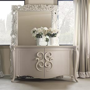 _Pigalle sideboard   in finish cameo cat. B, with hera handles </br>  in finish avorio pompeiano ceramizzato cat. B</br>  _Prince mirror in finish neve cat. B with natural mirror