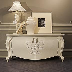 _NOBELESSE SIDEBOARD ivory embossed with ceramic details, cat.D</br>